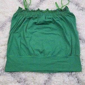 Baby Phat Women's Sleeveless Shirt Green Striped